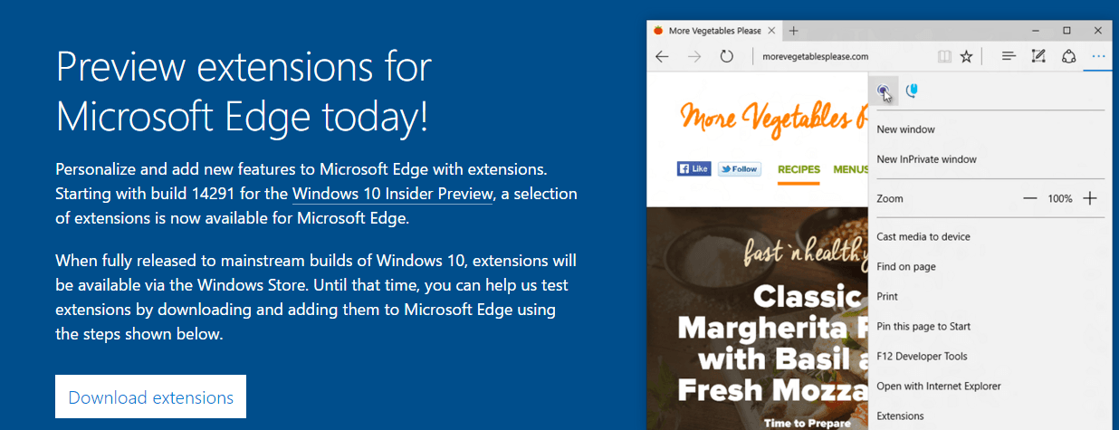 Edge Preview extensions download page
