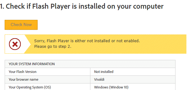 check if flash player is installed on your computer