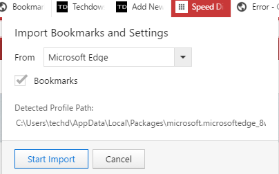 importing bookmarks into firefox