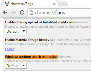Windows desktop search redirection flag