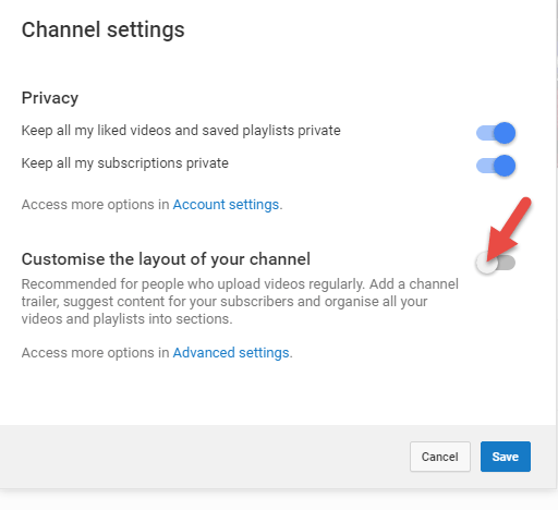 YouTube customize layout of your channel