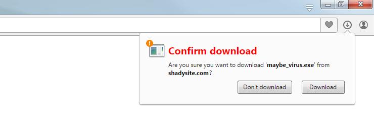 risky file download warning
