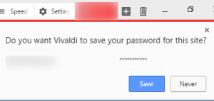Vivaldi asks to save password for the site