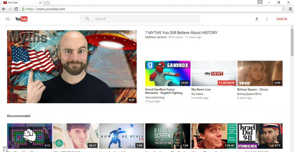 youtube with material design in Chrome