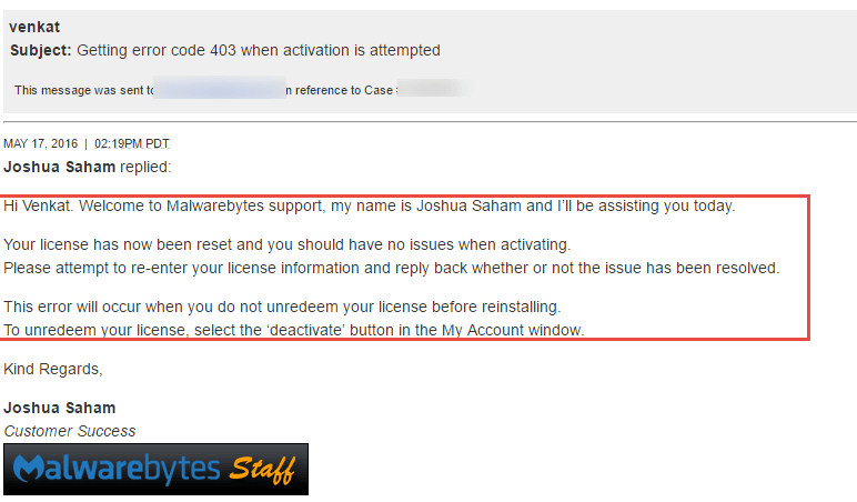 Malwarebytes support reply