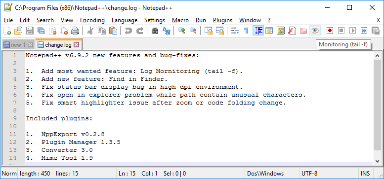 Notepad++ moniotoring icon toolbar
