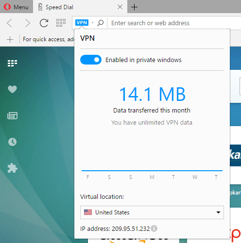 VPN in private window