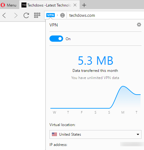 Opera browser VPN in normal tab