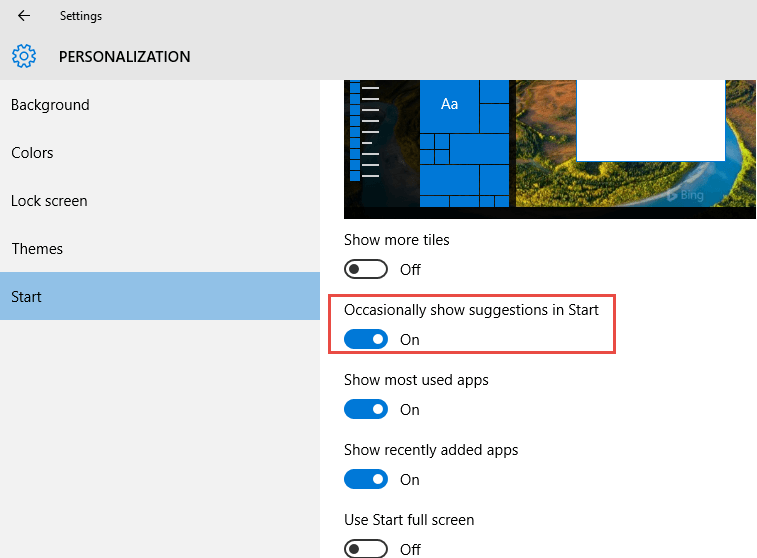 Personalization start menu settings