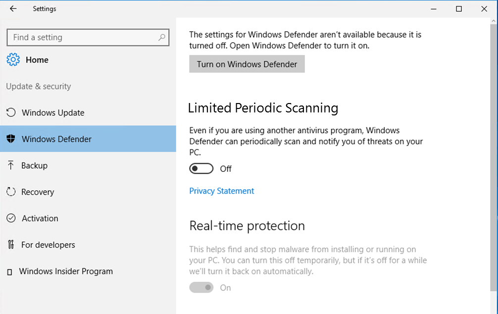 Windows 10 offers Limited Periodic Scanning security setting