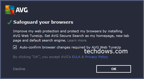 AVG shows notification to install Web TuneUp