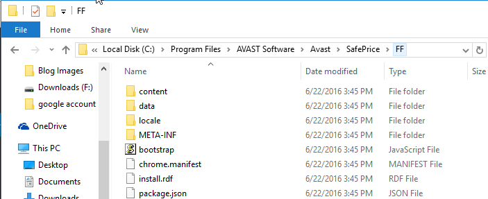 Avast SafePrice Firefox folder