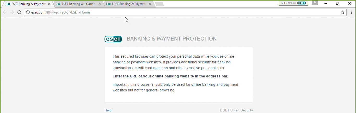 ESET Banking & Payment protection browser