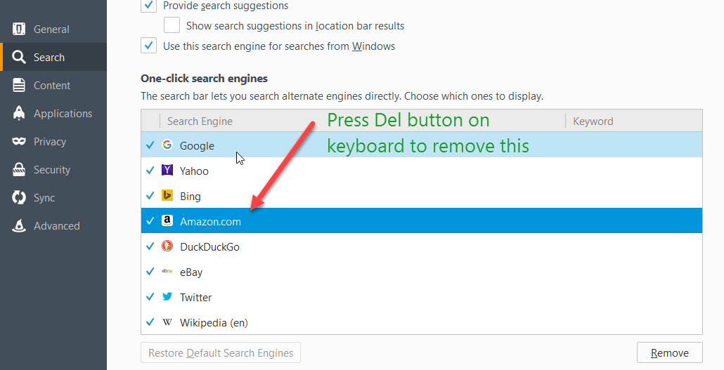 Firefox 50 search preferences page