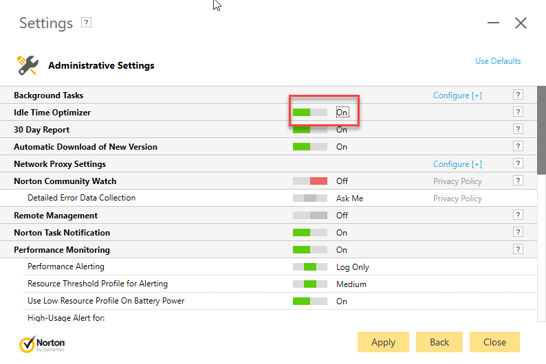 Norton Administrative Settings showing idle time optimizer status as on