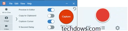 Snagit new capture window and oneclick in one frame