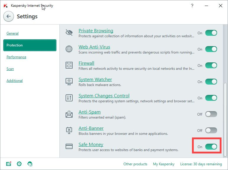 Turning Safe Money off in Kasperksy Internet Security Settings