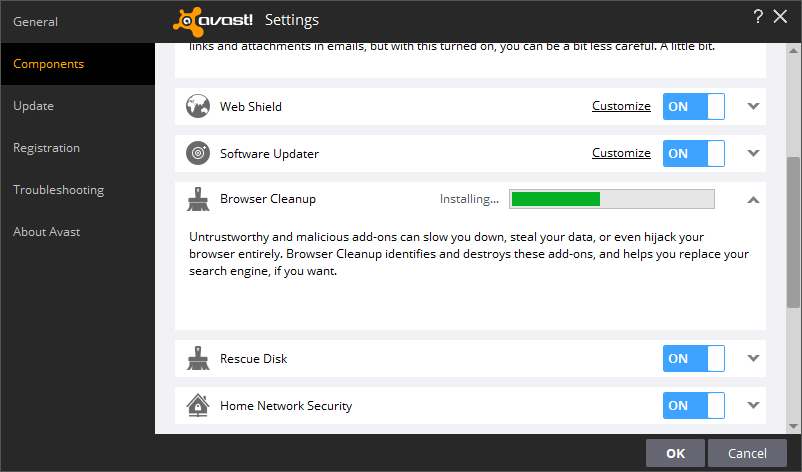 Avast components settings