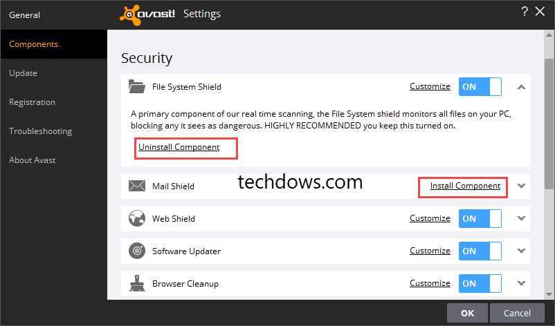 Components section in Avast Settings