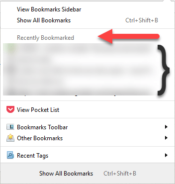 Firefox 49: Hide Recently bookmarked Items