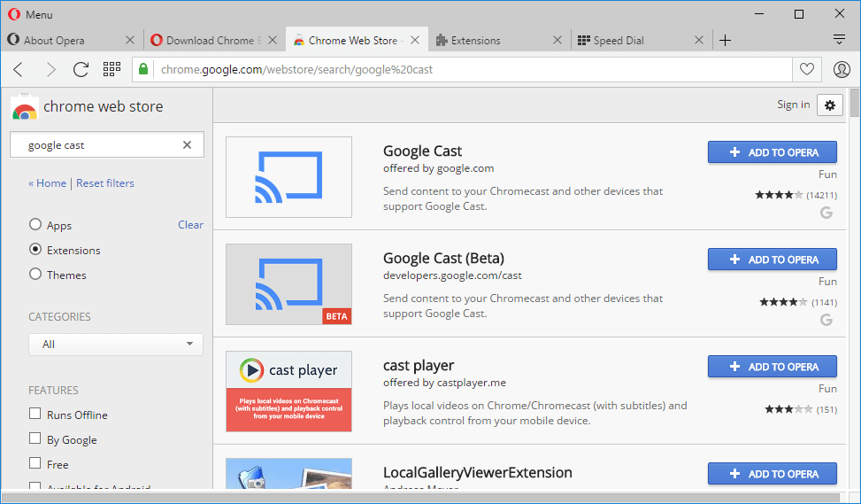 Google Cast extension Opera