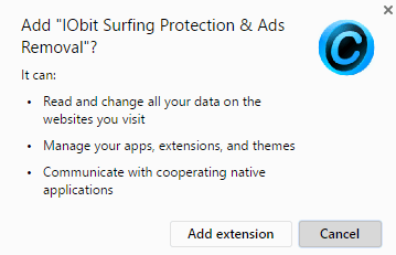 IObit Surfing Protection & Ads removal Chrome extension install popup