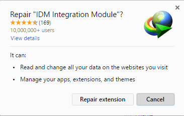Repair IDM Integration Module Chrome