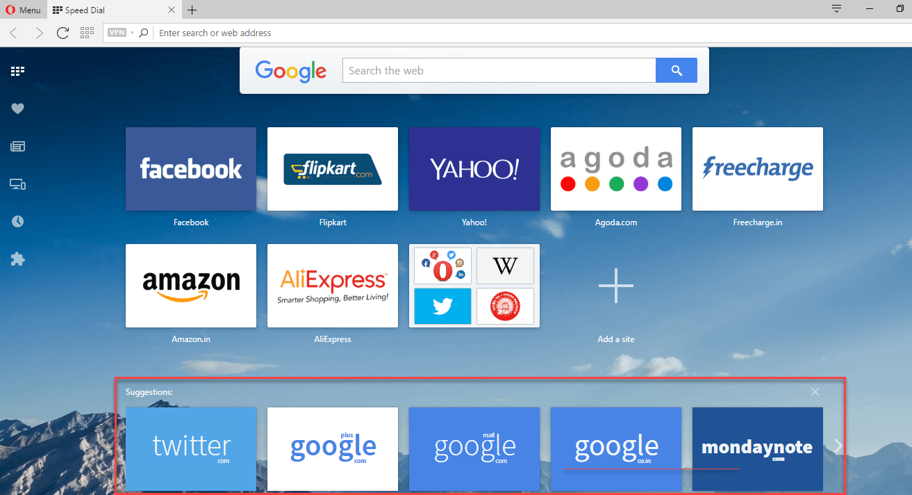 Opera tests Speed Dial Suggestions