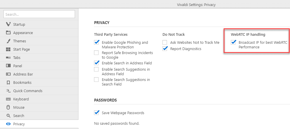 Vivaldi Privacy settings with WebRTC IP handling option-min