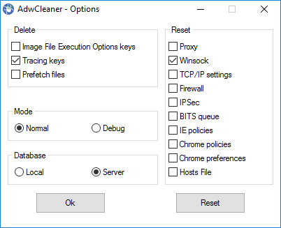Adwcleaner options window