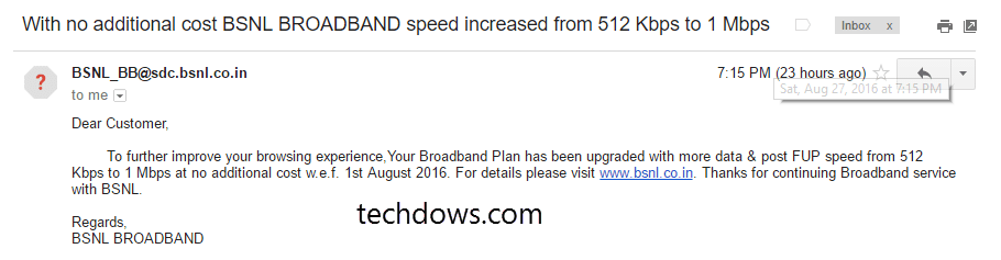 BSNL broadband fup speed increased from 512 kbps to 1 mbps