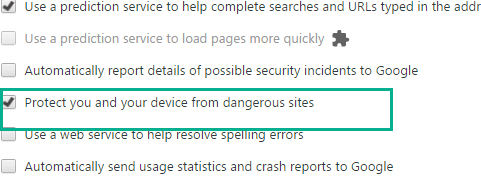 Chrome safe browsing setting