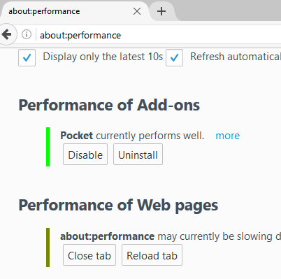 You can;t disable pocket in about:performance page