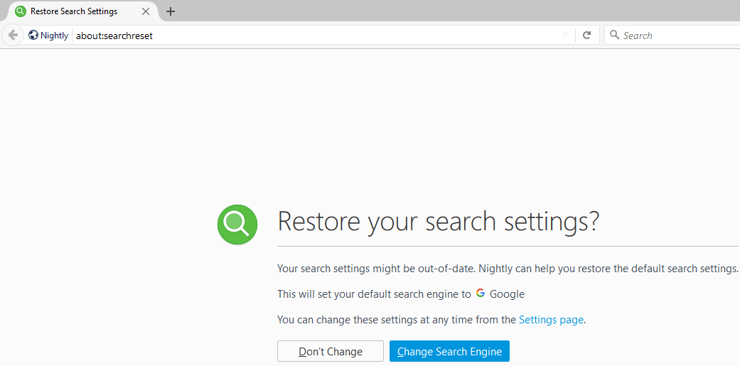 Firefox about searchreset page restore your search settings