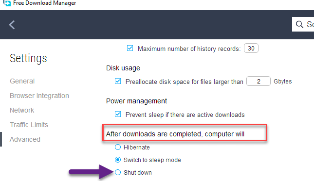 Free Download Manager Advanced Settings downloads