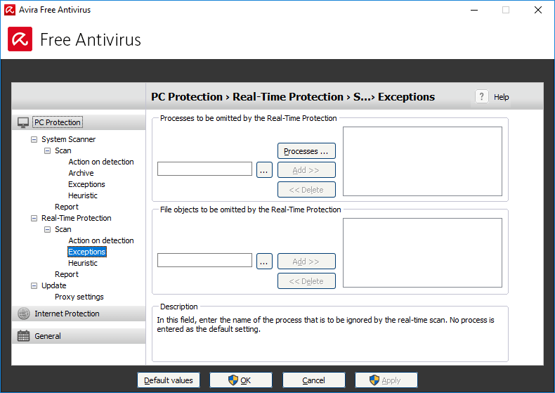 Omitting files and processes from Avira real-time protection scan
