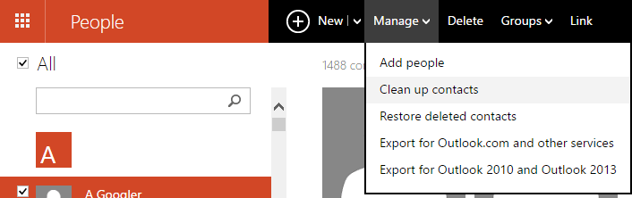 Outlook dot com people clean up contacts