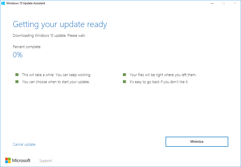 Update Assisant downloading the Windows 10 anniversary update