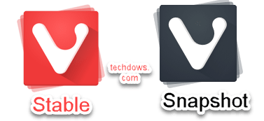 Vivaldi stable snapshot with red and black color icons respectively