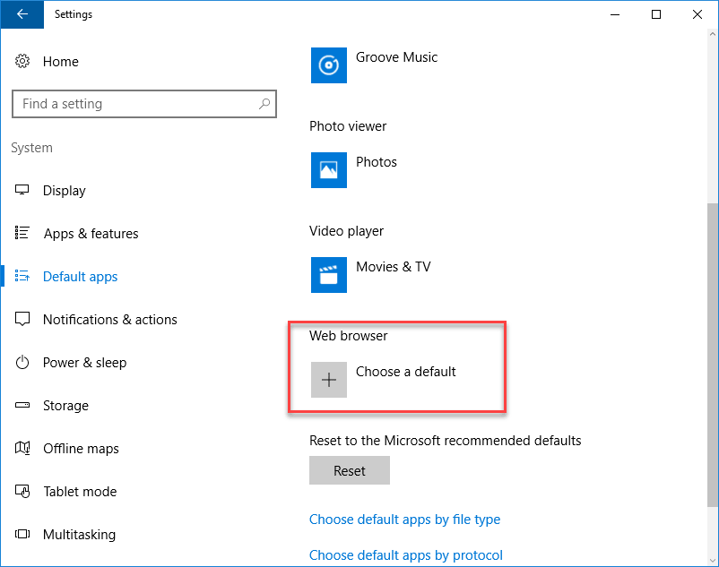 Windows 10 settings app Web browser section shows choose a default