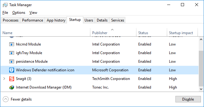Windows Defender Notification Icon process in Task Manager Startup tab