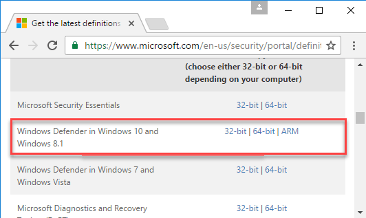 Windows defender latest definition updates download page