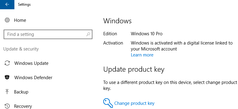 Windows 10 activation status