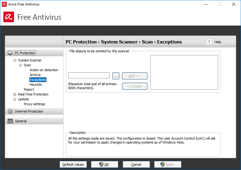 adding files as exceptions to the sytem scanner in Avira free antivirus