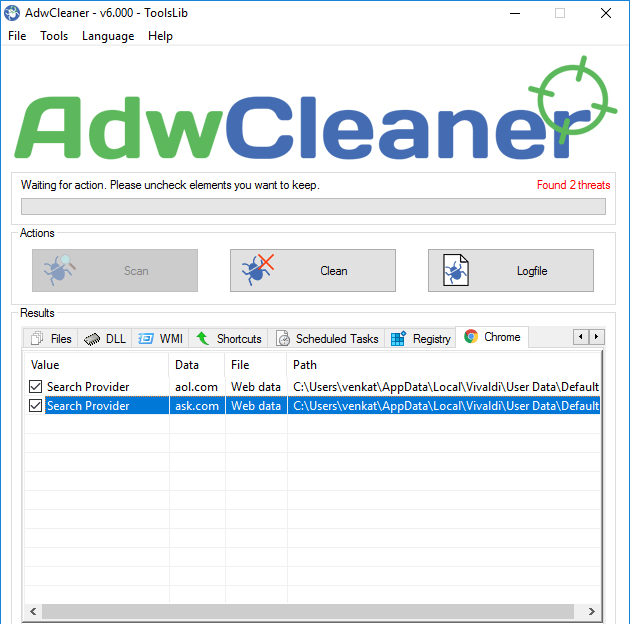 adwcleaner 6 displaying the scan results