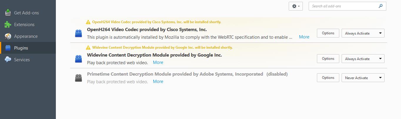 Firefox 52: Mozilla disables Adobe Primetime CDM Plugin