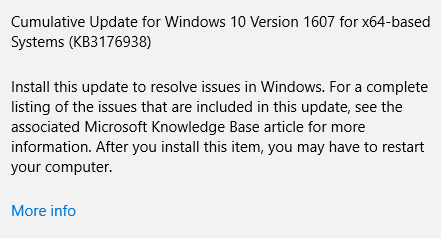 KB3176938 fix Windows 10 freezing issue