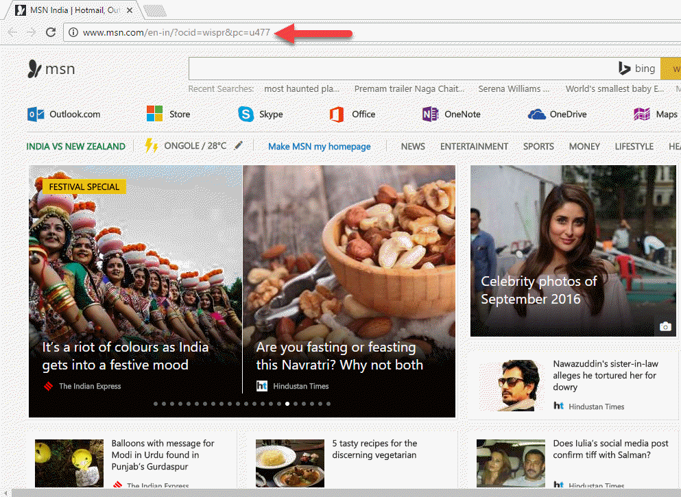 msn-site-opened-in-a-chrome-browser-tab