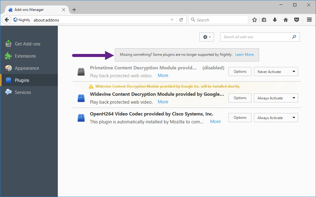 Firefox 53: Shows Notification about deprecated plugins