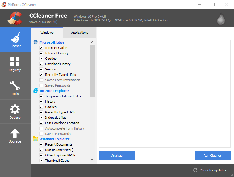 Piriform asks to use latest version of CCleaner to avoid Windows 10